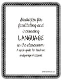 Classroom Language Strategies: Tips for Teachers and Parap