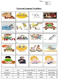 Classroom Language Vocabulary