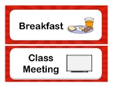 Classroom Large Visual Schedule- RED