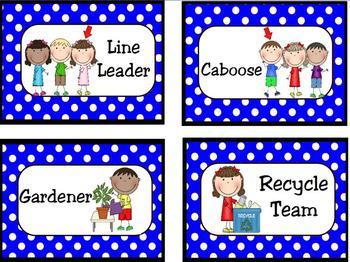 Classroom Leaders Job Cards Polka Dots
