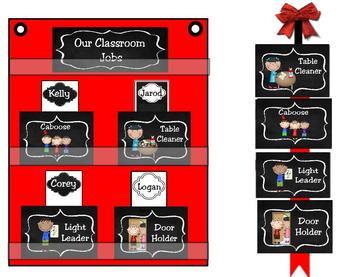 Classroom Leaders Job Cards Chalkboard Theme