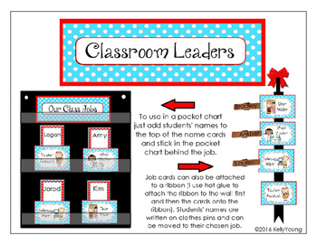 Classroom Leaders Job Cards Red and Aqua