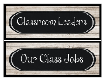 Classroom Leaders Job Cards White Washed Wood