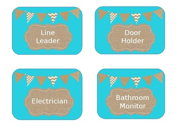 Classroom Leaders Job Chart Editable Burlap and Teal