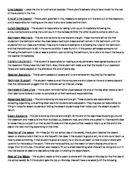 Classroom Leaders - job descriptions and introduction lettr