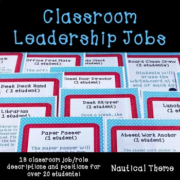 Classroom Leadership Jobs Nautical Theme