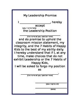 Classroom Leadership Position Promise
