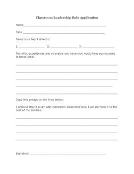 Classroom Leadership Role Application