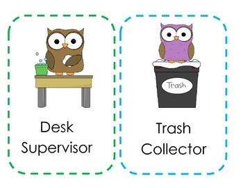 Classroom Leadership Roles - Owl Themed