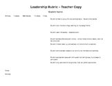 Classroom Leadership Rubric