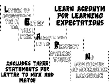 Classroom Learning Expectations ~Dots~