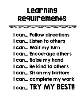 Classroom Learning Requirements