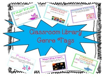 Classroom Library Basket Genre Tags