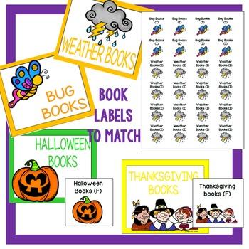 Classroom Library Basket/Bin Labels - Black Rainbow Set