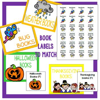 Classroom Library Basket/Bin Labels White/Black Rainbow Set Bundle