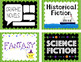 Classroom Library Labels for Middle Grades, Green Background