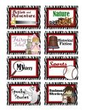 Classroom Library Bin Labels - Saucy Zebra design