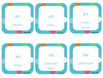 Classroom Library Bin Labels (teal) - EDITABLE
