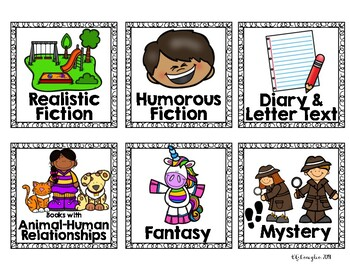 Classroom Library Book Basket Genre Labels