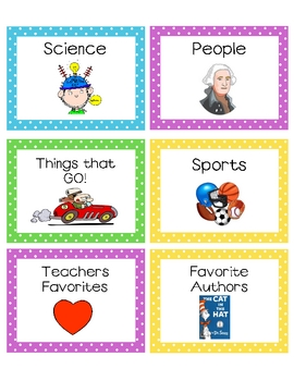 Classroom Library Book Basket Labels