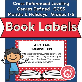 Classroom Library Book Basket Labels (Red And White Dots)