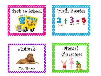 Classroom Library Book Basket Labels/Library Labels Polka Dots