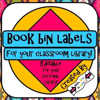 Classroom Library Book Bin Labels *Editable*