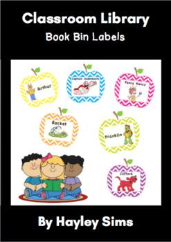 Classroom Library Book Bin Labels - Apple Chevron Theme