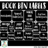 Classroom Library Book Bin Labels (Black and White Theme)