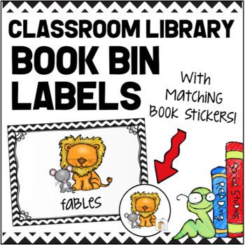 Classroom Library Book Bin Labels - Black and White Chevron