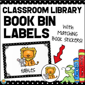 Classroom Library Book Bin Labels - Black and White Polka Dot