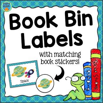 Classroom Library Book Bin Labels - Aqua/Blue Plaid