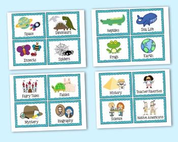 Classroom Library Labels - Aqua/Blue Plaid Book Bin Labels