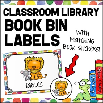 Library Labels - Book Bin Labels - Colorful Polka Dots