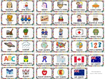 Classroom Library Labels - Book Bin Labels with Book Stickers POLKA DOTS