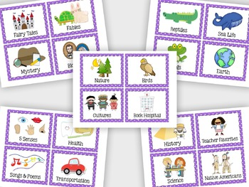 Classroom Library Book Bin Labels - Purple Polka Dot