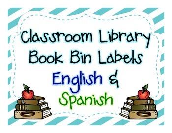 Classroom Library Book Bin Labels- English & Spanish (blue/green)