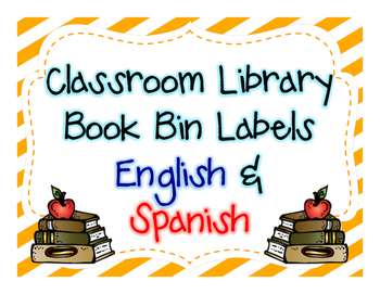 Classroom Library Book Bin Labels- English & Spanish (blue/red)
