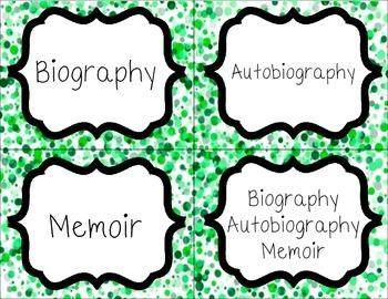 Classroom Library Book Bin Labels--Green Dot