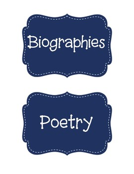 Classroom Library Book Bin Labels - Navy Blue