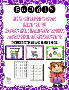 Classroom Library Book Bin Labels and Stickers - Bundle (editable included)