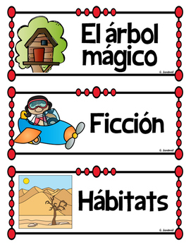 Classroom Library Book Bin Labels in Spanish and in English
