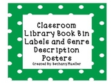Classroom Library Book Bin Labels with Genre Posters