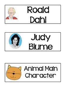 Classroom Library Book Bin Signs