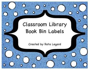 Classroom Library Book Bins Labels