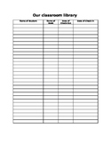 Classroom Library Book Check Out Sign In/Out Sheet