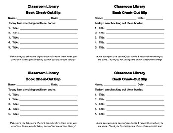 Classroom Library Book Check-Out Slip