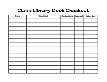 Classroom Library Book Checkout