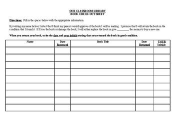Classroom Library Book Checkout Sheet