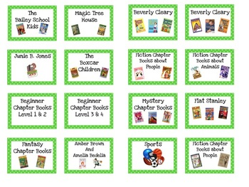 Classroom Library Book Labels Blue & Green Polka Dots